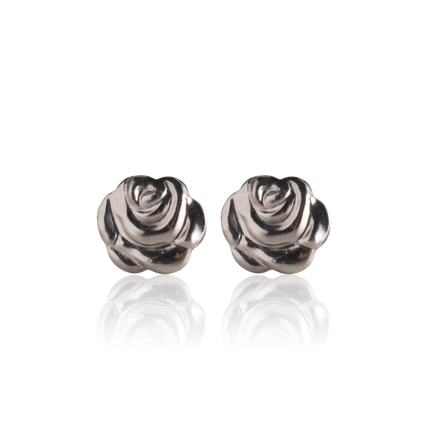 Stainless Steel Earrings | Rose Bud Studs