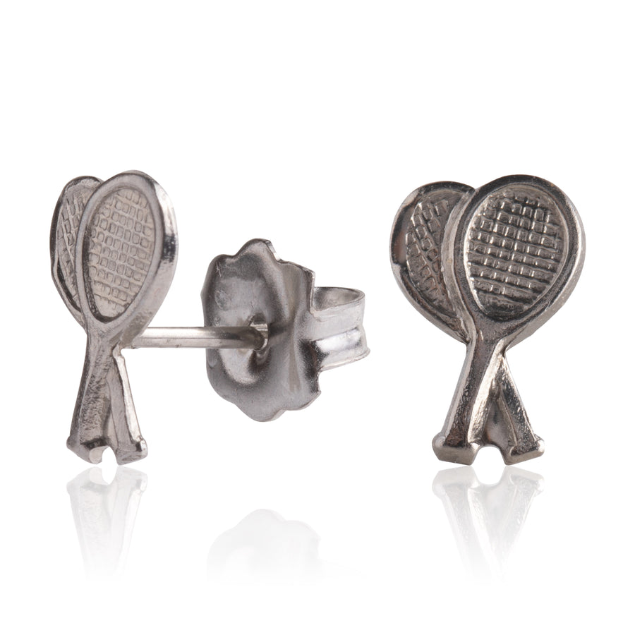 Stainless Steel Earrings | Tennis Racket Studs | 2 Pairs