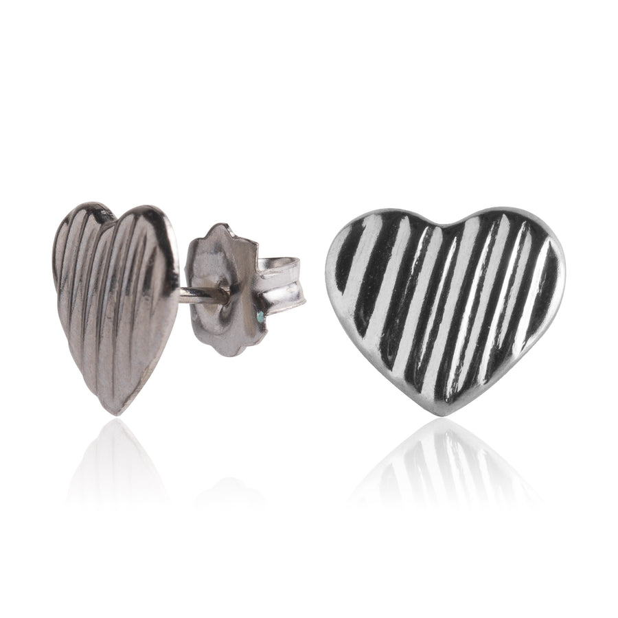 Stainless Steel Earrings | Lined Heart Studs | 1 Pair