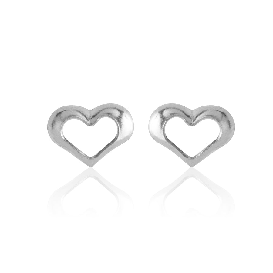 Wholesale | Stainless Steel Earrings | Open Heart Studs | 1 Pair