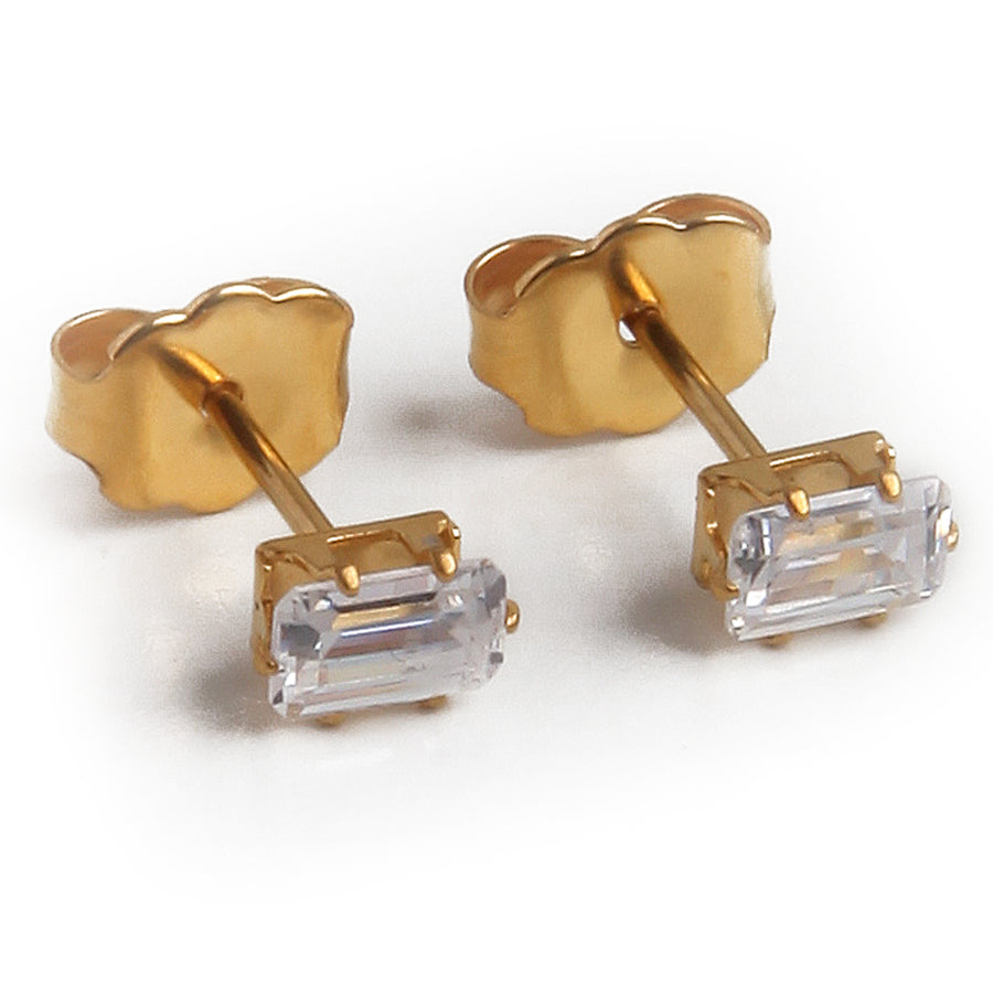 Wholesale | Cubic Zirconia Earrings | 5mm Clear Rectangle | 22k Gold Plated Stainless Steel Posts | 1 Pair