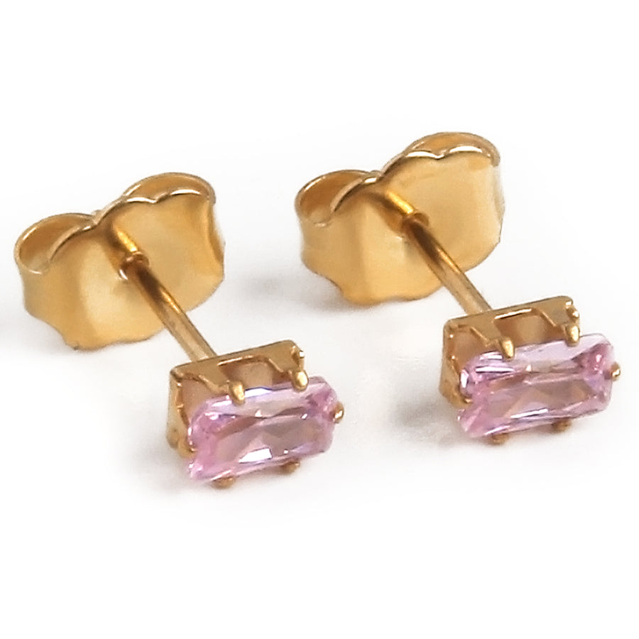 Cubic Zirconia Earrings | 5mm Pink Rectangle | 22k Gold Plated Stainless Steel Posts | 1 Pair