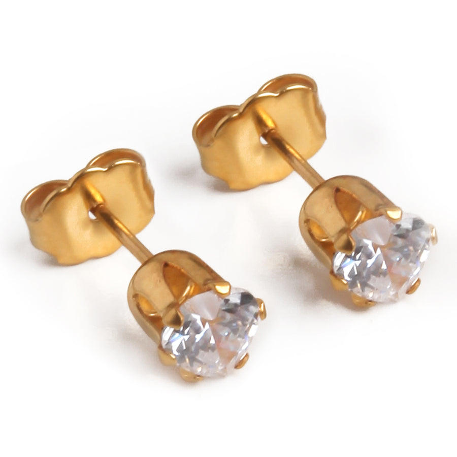 Wholesale | Cubic Zirconia Earrings | 5mm Heart Shaped | 22k Gold Plated Stainless Steel Posts | 1 Pair