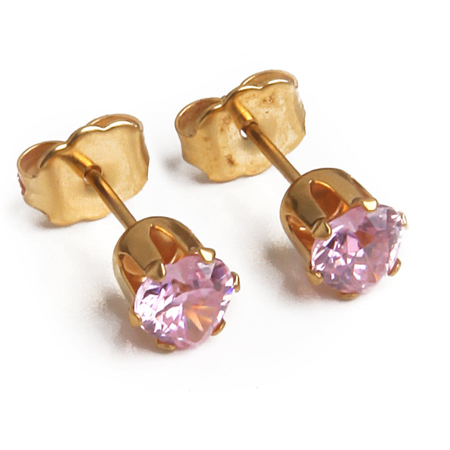 Cubic Zirconia Earrings | 5mm Pink Heart Shaped | 22k Gold Plated Stainless Steel Posts | 1 Pair
