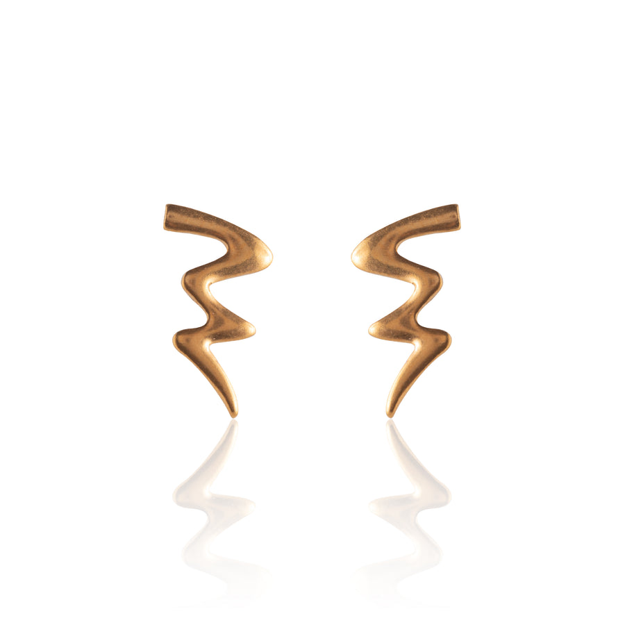 Stainless Steel Earrings | Squiggle Studs | 22k Gold Plated | 1 Pair