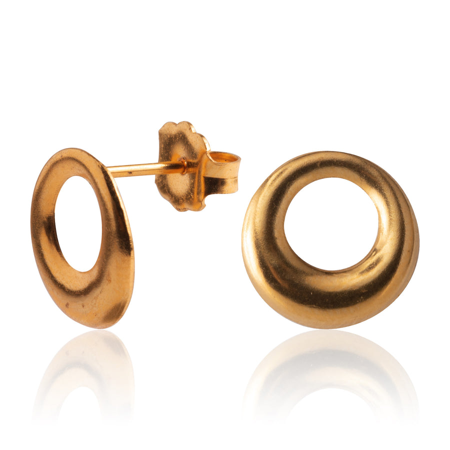 Stainless Steel Earrings | Open Circle Studs | 22k Gold Plated