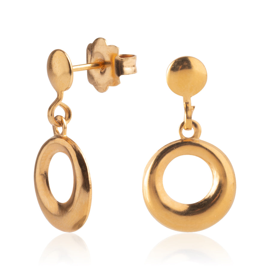 Wholesale | Stainless Steel Earrings | Open Circle Drop Studs | 22k Gold Plated | 1 Pair