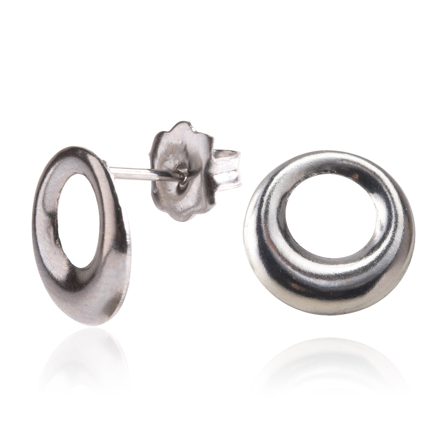 Stainless Steel Earrings | Open Circle Studs | 1 Pair