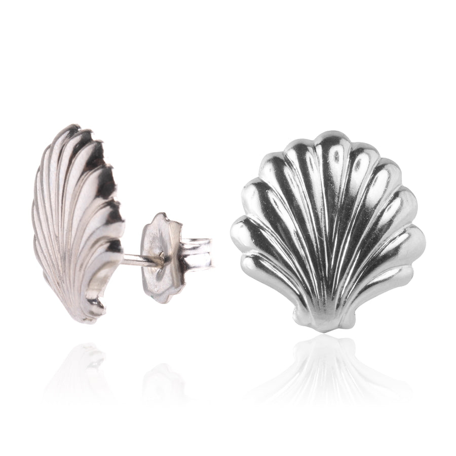 Stainless Steel Earrings | Large Sea Shell Studs
