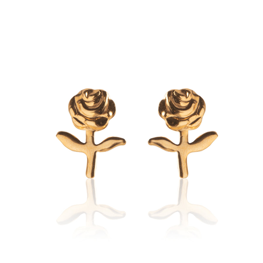 Stainless Steel Earrings | Stemmed Rose Studs | 22k Gold Plated