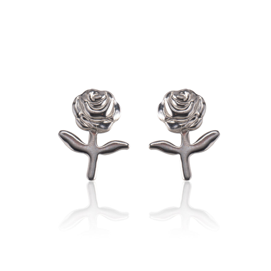 Stainless Steel Earrings | Stemmed Rose Studs | 1 Pair