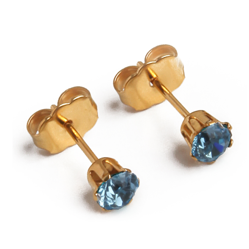 Cubic Zirconia March Birthstone Earrings | Round Shape | Aquamarine | 22k Gold Plated Stainless Steel Posts | 2 Pairs