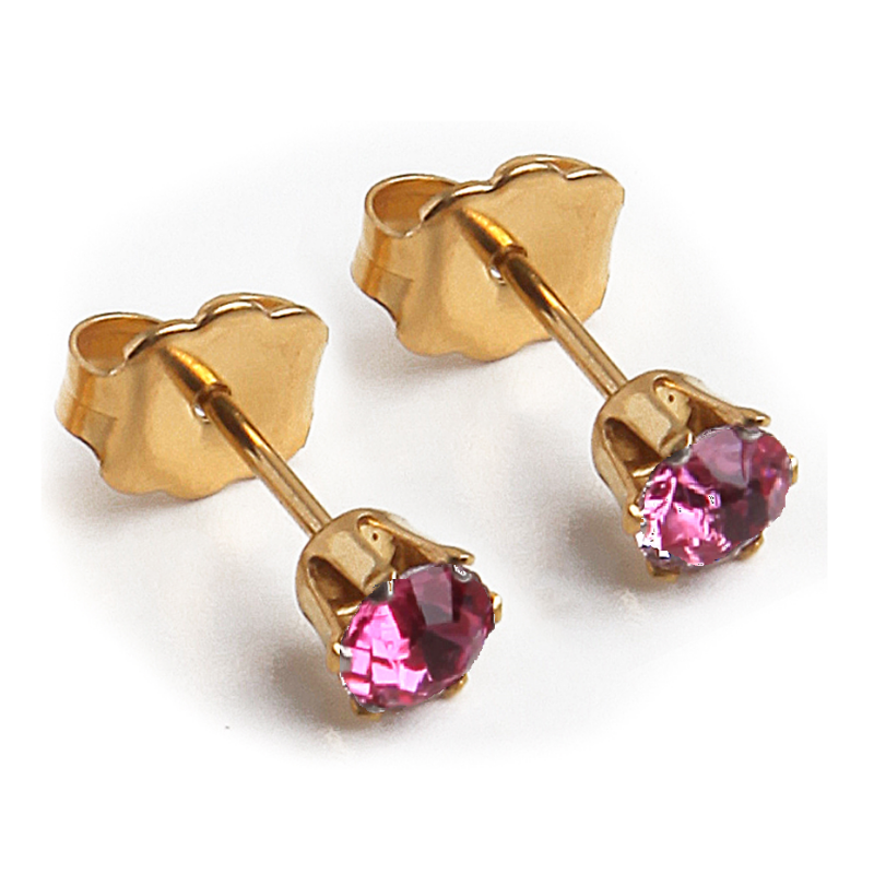 Cubic Zirconia October Birthstone Earrings | 4mm Round| Pink Tourmaline | 22k Gold Plated Stainless Steel Posts | 1 Pair