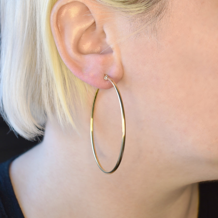 Statement Earrings | 50mm Hoops | 18k Gold Plated Stainless Steel | 1 Pair
