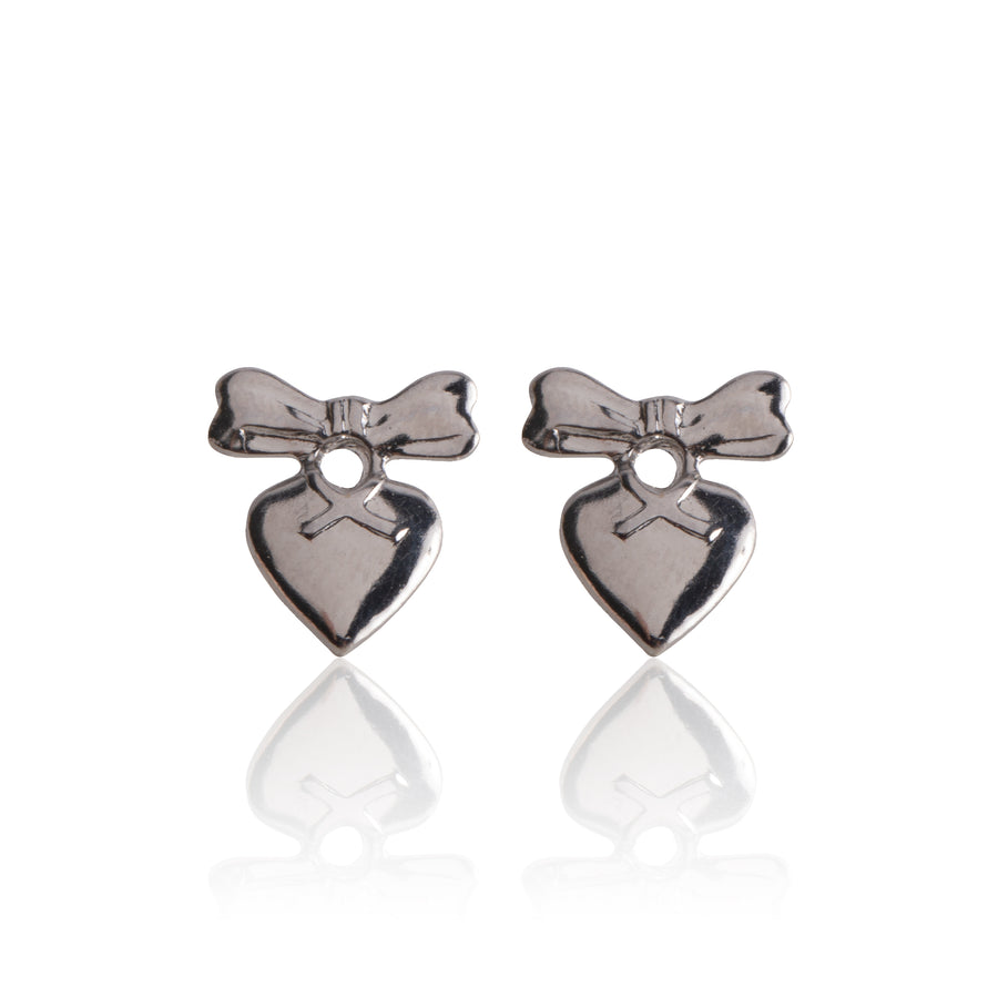 Stainless Steel Earrings | Heart With Bow Drop Studs
