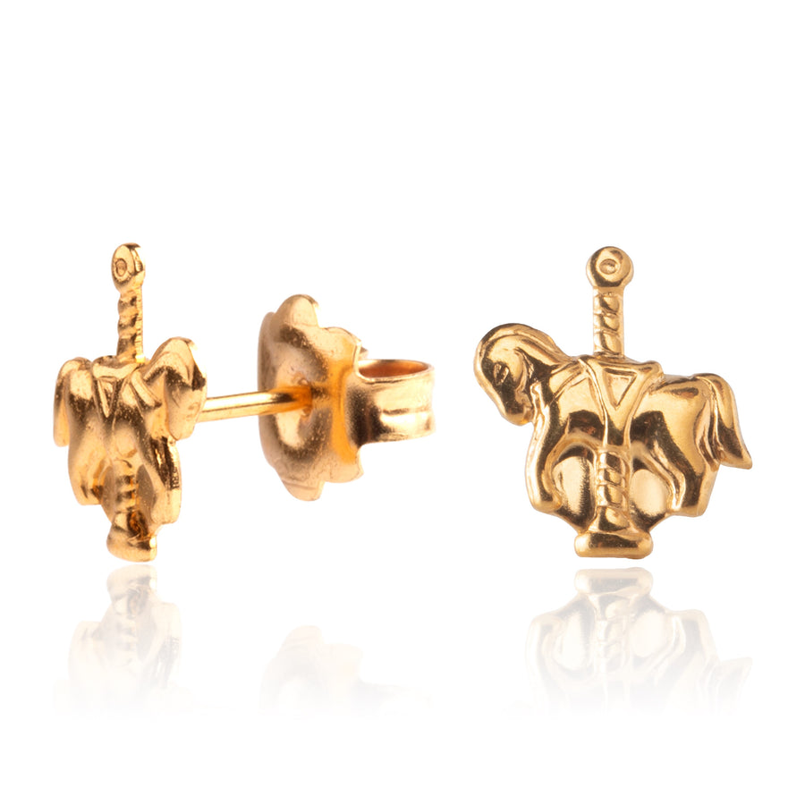 Wholesale | Stainless Steel Earrings | Carousel Horse Studs | 22k Gold Plated | 1 Pair
