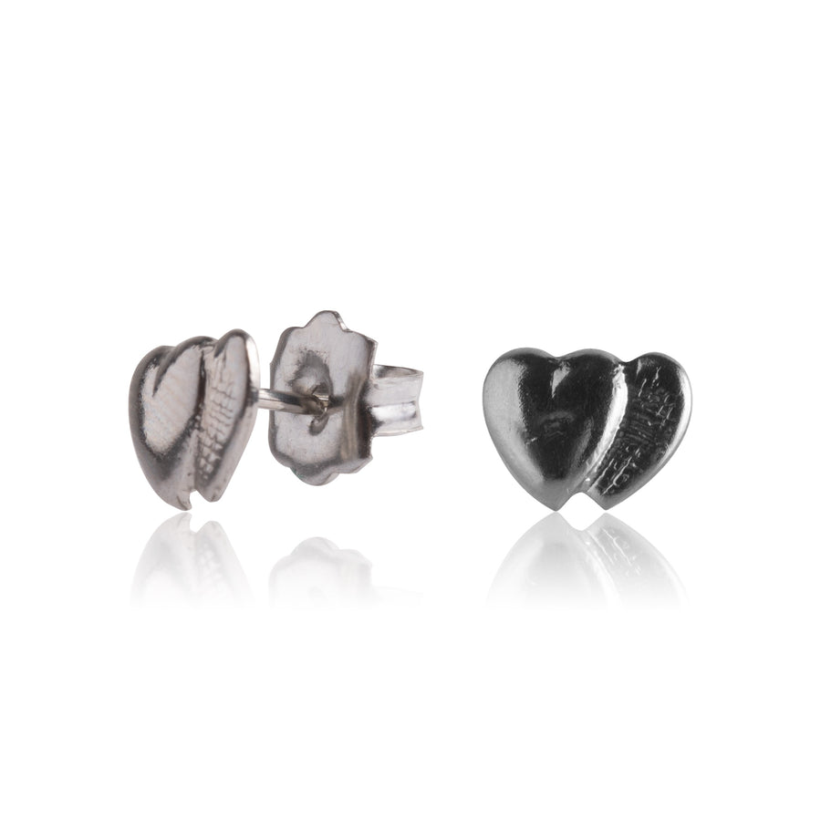 Stainless Steel Earrings | Double Heart Studs | 1 Pair