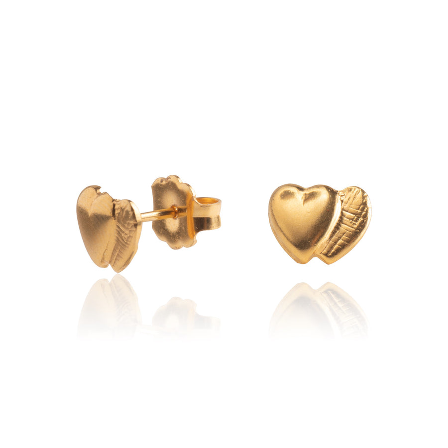 Gold Double Heart Earrings