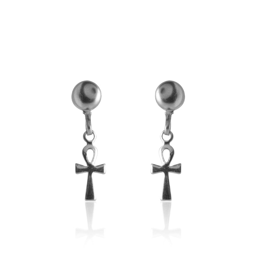 Stainless Steel Earrings | Ankh Drop Studs | 1 Pair