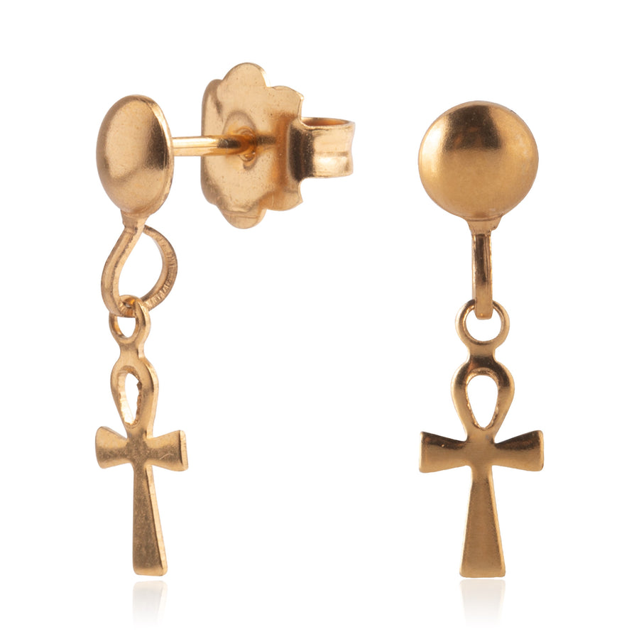 Wholesale | Stainless Steel Earrings | Ankh Drop | 22k Gold Plated | 1 Pair