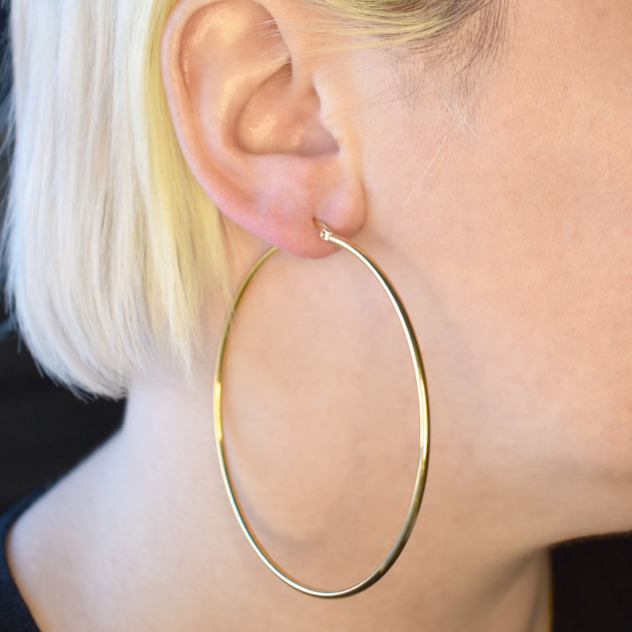 Statement Earrings | 70mm Hoops | 18k Gold Plated Stainless Steel | 1 Pair