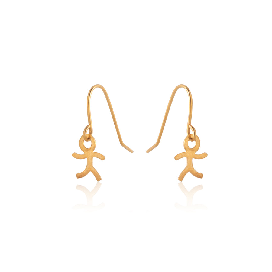 Stainless Steel Earrings | Stick Boy Fish Hooks | 22k Gold Plated