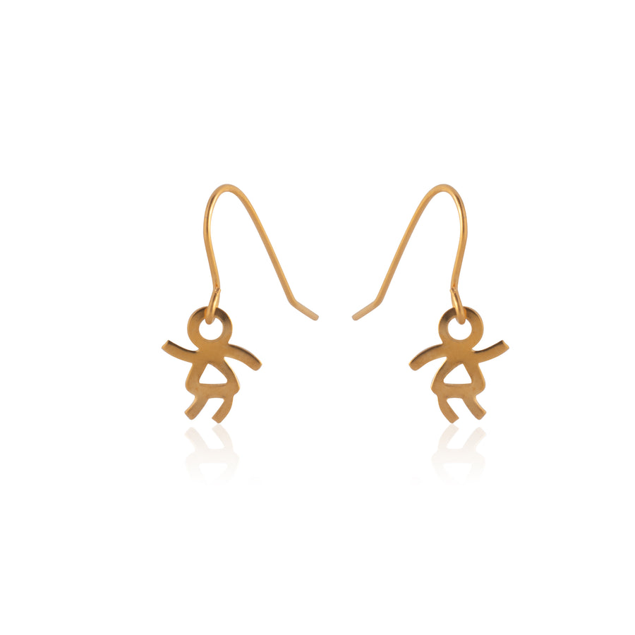 Stainless Steel Earrings | Stick Girl Fish Hooks | 22k Gold Plated | 1 Pair