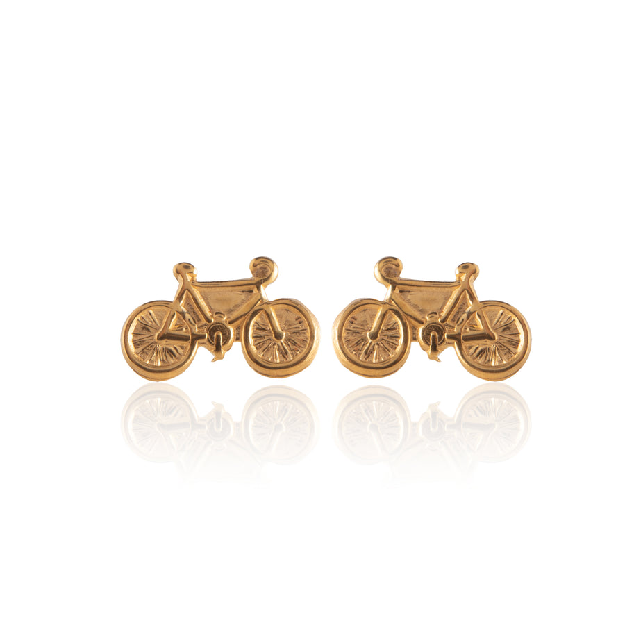 Stainless Steel Earrings | Bicycle Stud | 22k Gold Plated