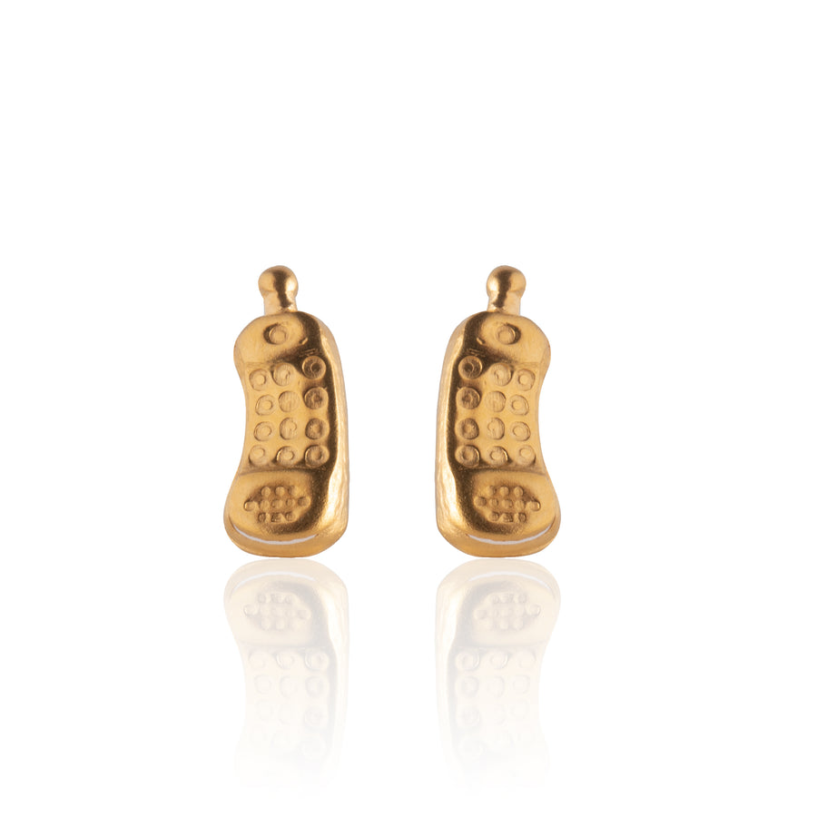 Stainless Steel Earrings | Retro Cellphone Studs | 22k Gold Plated