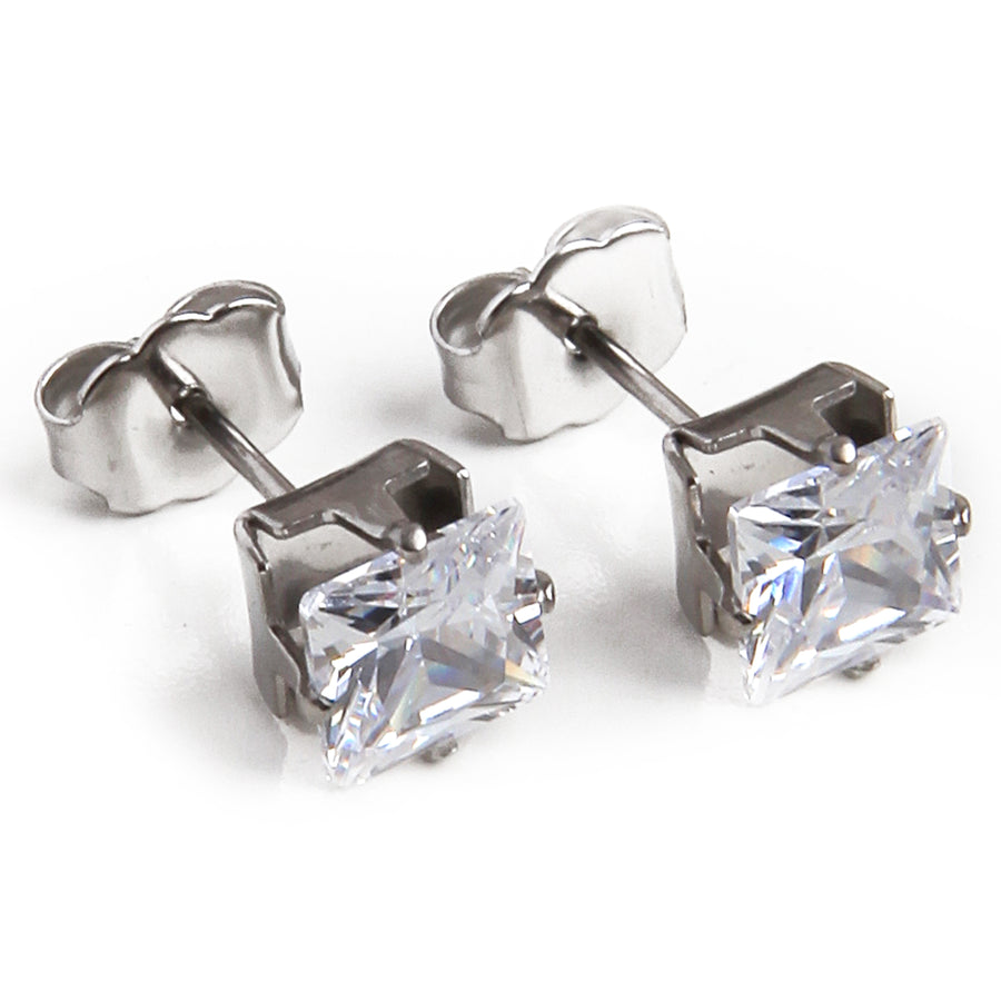 Wholesale | Cubic Zirconia Earrings | 6mm Clear Square | Stainless Steel Posts | 1 Pair