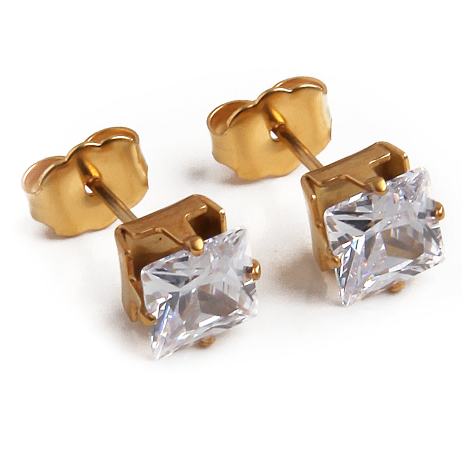 Cubic Zirconia Earrings | 6mm Clear Square | 22k Gold Plated Stainless Steel Posts | 1 Pair