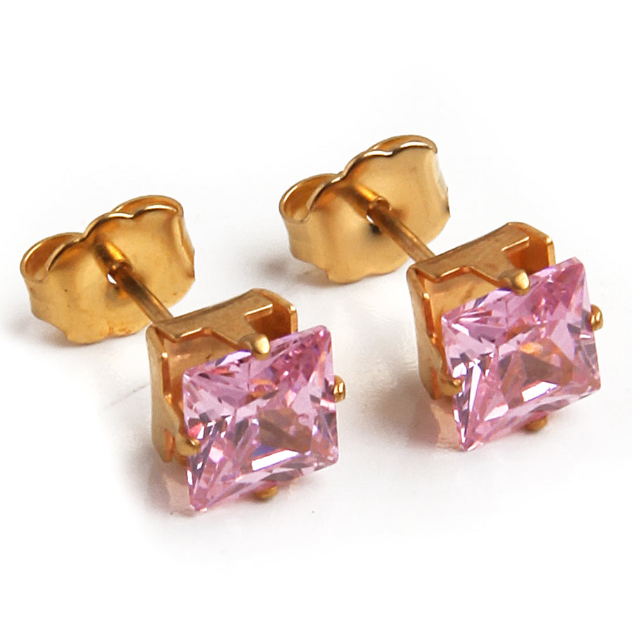 Cubic Zirconia Earrings | 6mm Pink Square | 22k Gold Plated Stainless Steel Posts | 1 Pair