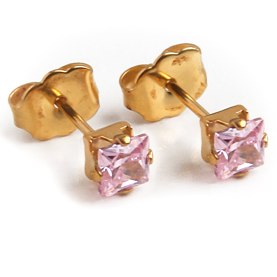 Cubic Zirconia Earrings | 4mm Pink Square | 22k Gold Plated Stainless Steel Posts