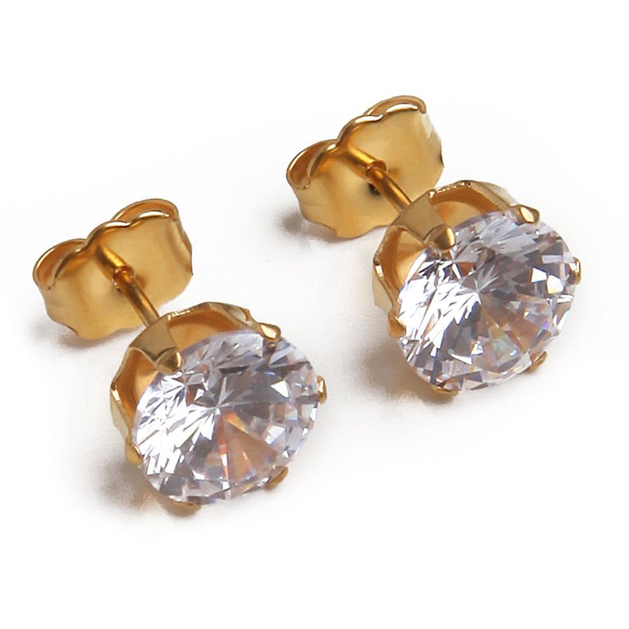 Wholesale | Cubic Zirconia Earrings | 8mm Clear Round | 22k Gold Plated Stainless Steel Posts | 1 Pair
