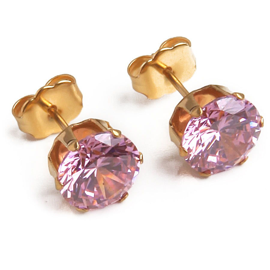 Wholesale | Cubic Zirconia Earrings | 8mm Pink Round | 22k Gold Plated Stainless Steel Posts | 1 Pair