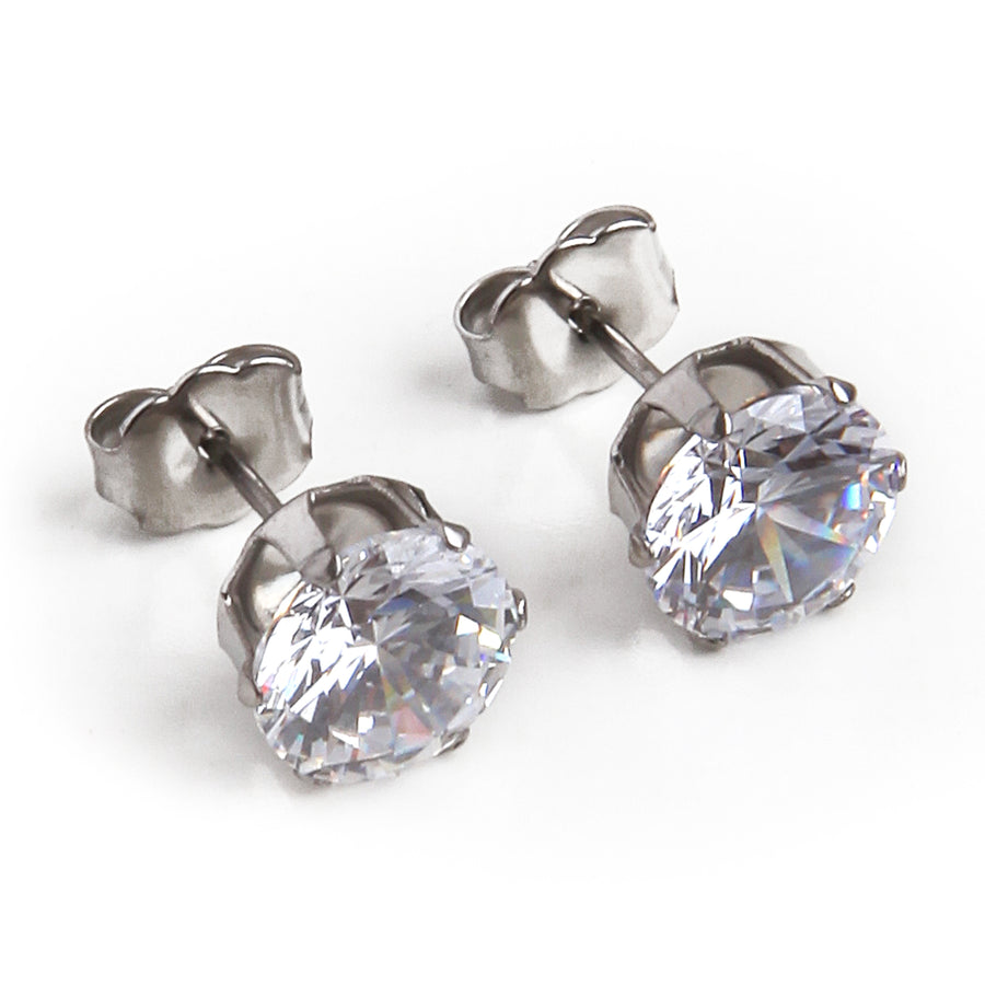 Cubic Zirconia Earrings | 8mm Clear Round | Stainless Steel Posts