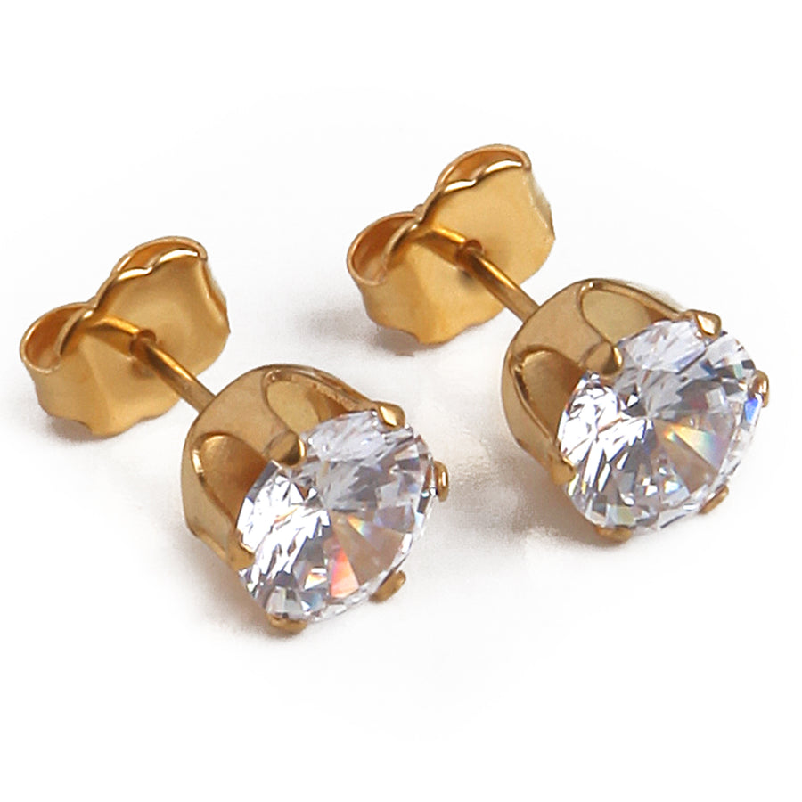 Cubic Zirconia Earrings | 7mm Clear Round | 22k Gold Plated Stainless Steel Posts | 1 Pair