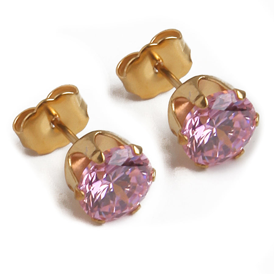 Cubic Zirconia Earrings | 7mm Pink Round | 22k Gold Plated Stainless Steel Posts | 1 Pair