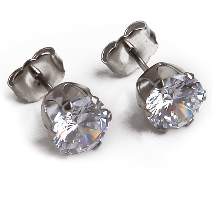 Cubic Zirconia Earrings | 7mm Clear Round | Stainless Steel Posts | 1 Pair