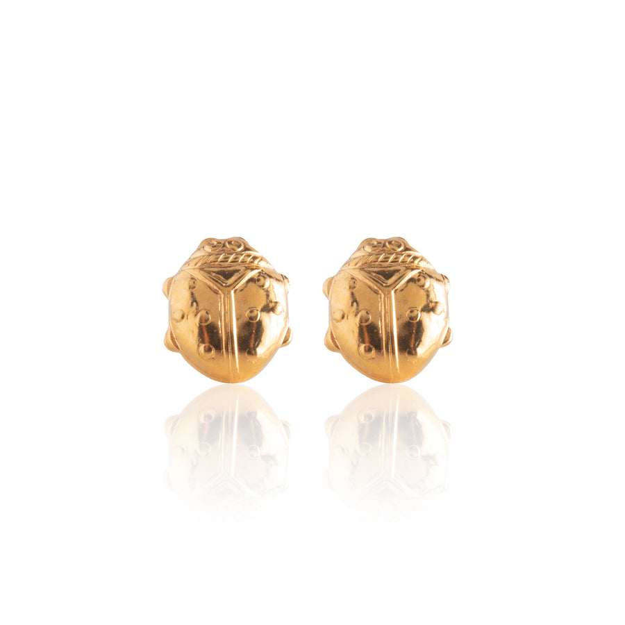 Stainless Steel Earrings | Lady Bug Studs | 22k Gold Plated