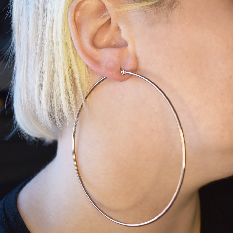 Statement Earrings | 90mm Hoops | 18k Rose Gold Plated Stainless Steel | 1 Pair