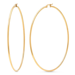 Statement Earrings | 90mm Hoops | 18k Gold Plated Stainless Steel | 1 Pair