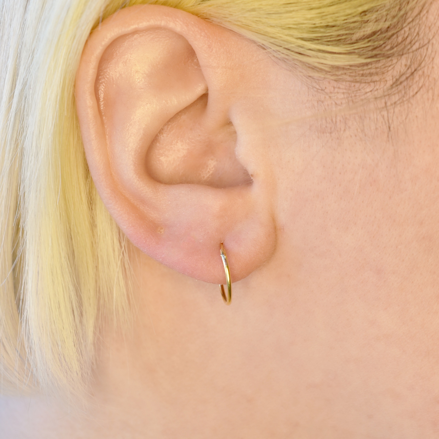 Wholesale | Sterling Silver Earrings | 14mm Mini Hoops | 22k Gold Plated | 3 Pairs