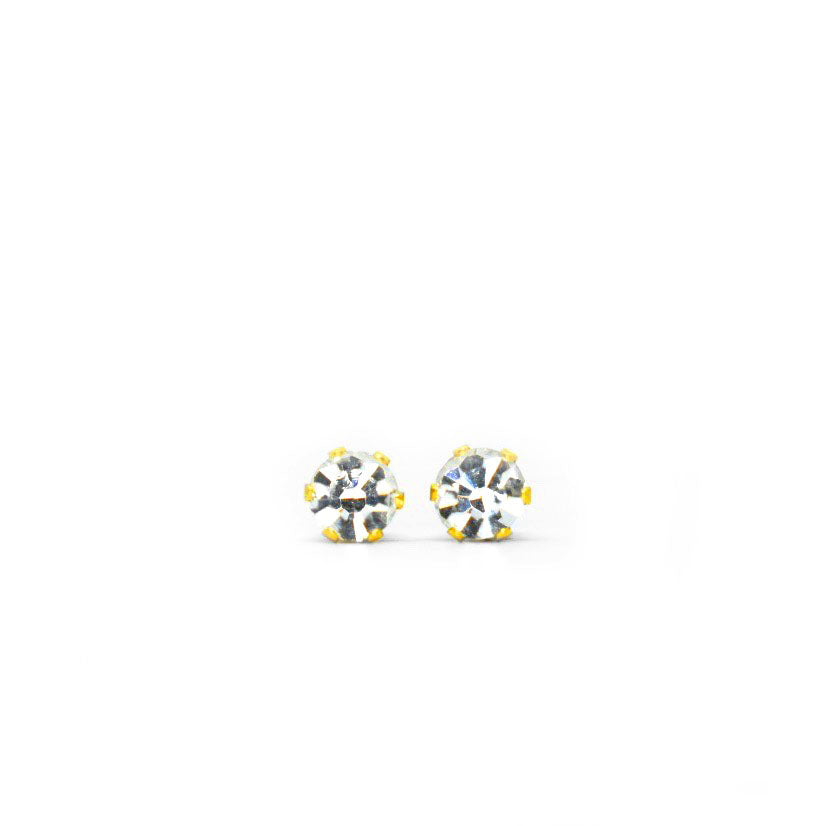 Cubic Zirconia April Birthstone Earrings | 4mm Round | Diamond Color | 22k Gold Plated Stainless Steel Posts | 1 Pair