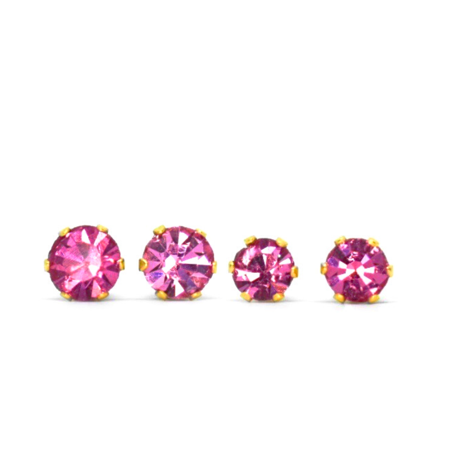 Cubic Zirconia October Birthstone Earrings | Round Shape | Pink Tourmaline | 22k Gold Plated Stainless Steel Posts | 2 Pairs
