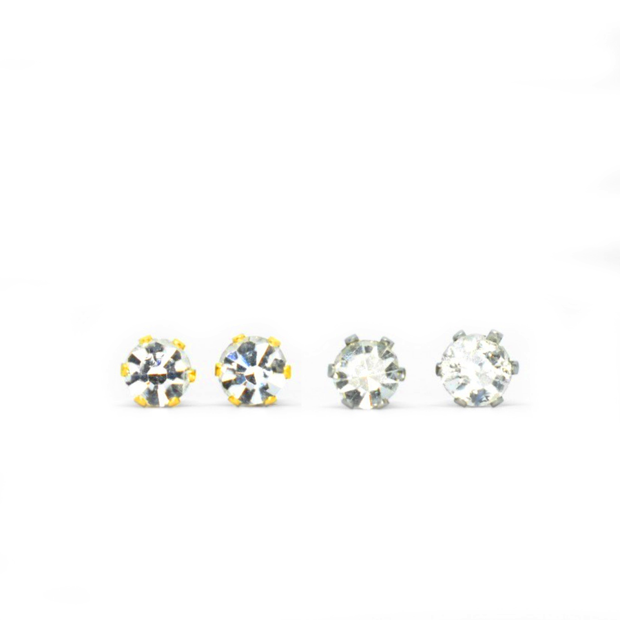 Cubic Zirconia April Birthstone Earrings | 4mm Round | Diamond Color | Stainless Steel Posts | 2 Pairs