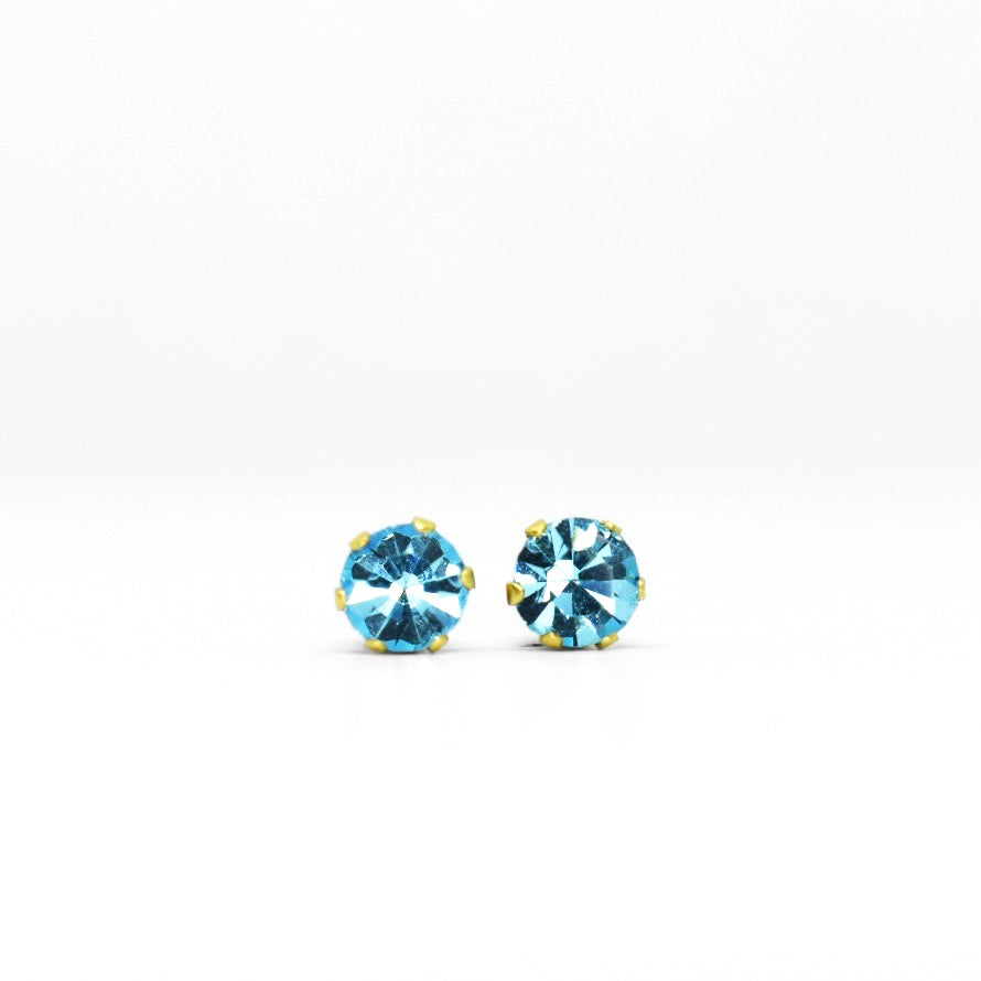 Wholesale | Cubic Zirconia March Birthstone Earrings | 5mm Round | Aquamarine | 22k Gold Plated Stainless Steel Posts | 1 Pair