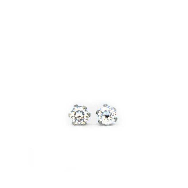 Cubic Zirconia Earrings | 3mm Clear Round | Stainless Steel Posts | 1 Pair