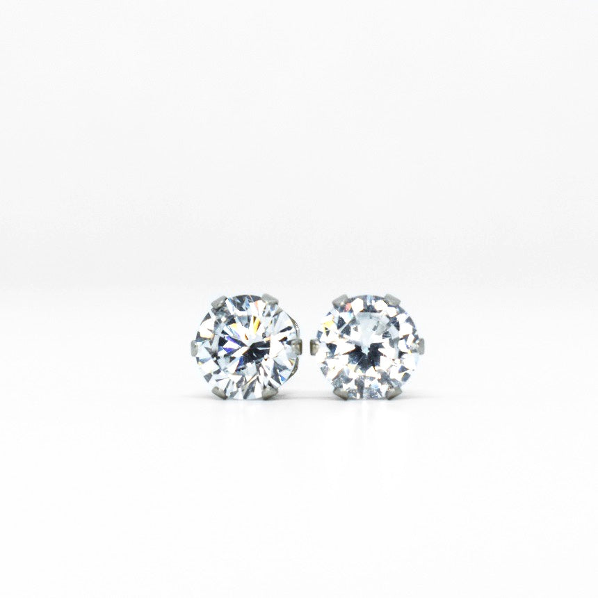 Wholesale | Cubic Zirconia Earrings | 7mm Clear Round | Stainless Steel Posts | 1 Pair