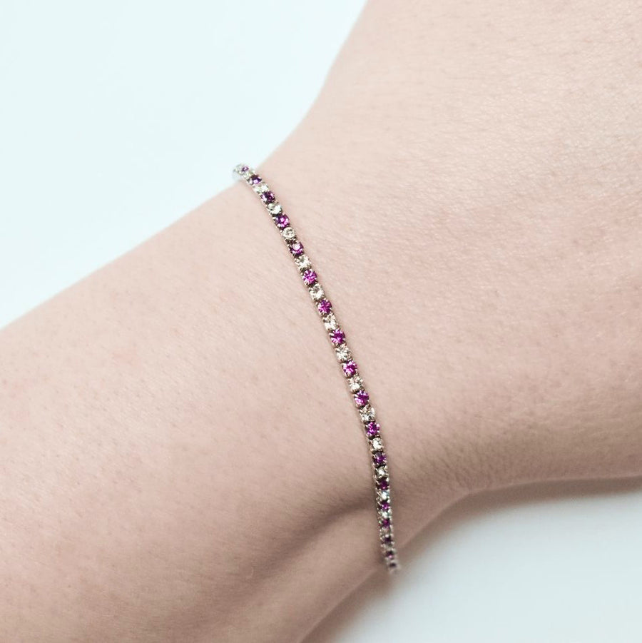 Tennis Bracelet | Clear and Fuchsia Austrian Crystals | Rhodium Plated | 1 Piece